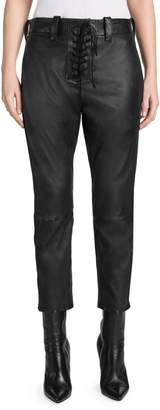 Unravel Project Leather Lace-Up Cropped Chinos