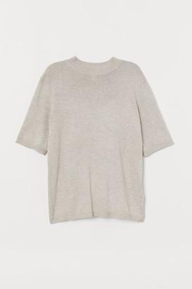 H&M Knit Mock Turtleneck Sweater - Beige