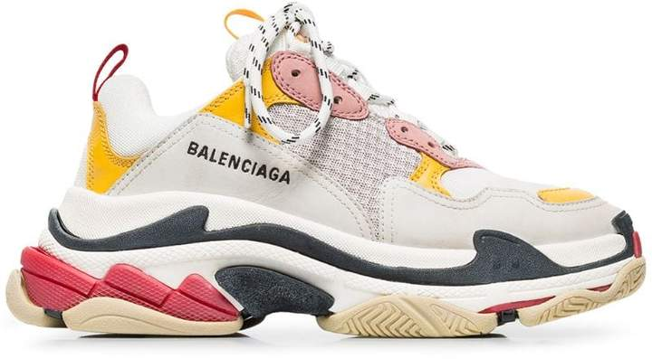 Balenciaga white, pink and yellow triple s leather sneakers