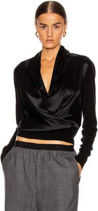 Veronica Beard Ingrid Mixed Media Top in Black | FWRD
