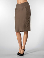 Pencil Skirt with Topstitched Belt in Olive
