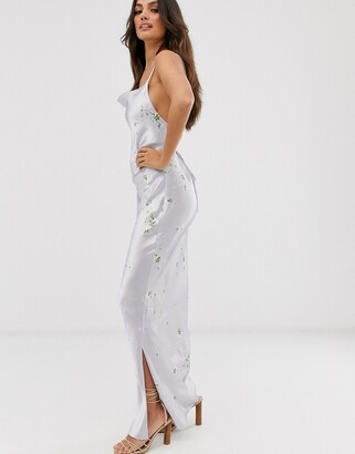 Asos DESIGN satin slip maxi dress in high shine ditsy floral print with lace up back