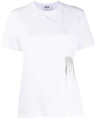 MSGM crystal-fringe short-sleeve T-shirt