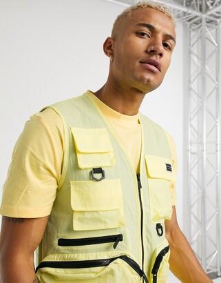 Criminal Damage nylon utility vest co-ord in yellow