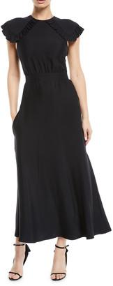 Calvin Klein Ruffled Cap-Sleeve Fitted-Waist A-Line Midi Dress