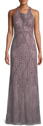 Aidan Mattox A-Line Beaded Loop Fringe Halter Evening Gown