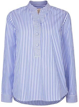 Nologo Chic Gigi Blouse Cotton Poplin Stripe - Monet Blue