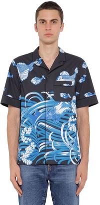 Valentino Fish Rain Printed Cotton Poplin Shirt
