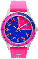 Juicy Couture Watch, Women's Taylor Hot Pink Silicone Strap 43mm 1900950