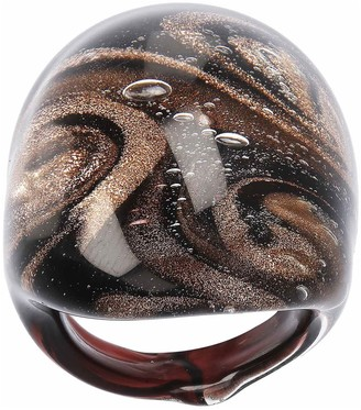 Murano Art Glass Glass Domed Swirl Ring