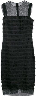 Balenciaga Pre-Owned 2000's Sheer Panels Fringed Dress