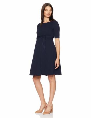 Motherhood Maternity Women's Maternity Elbow Sleeve Textured Fit & Flare Dress