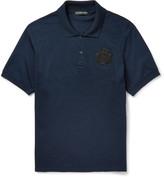 Alexander Mcqueen - Slim-fit Bead-embellished Cotton-piqué Polo Shirt