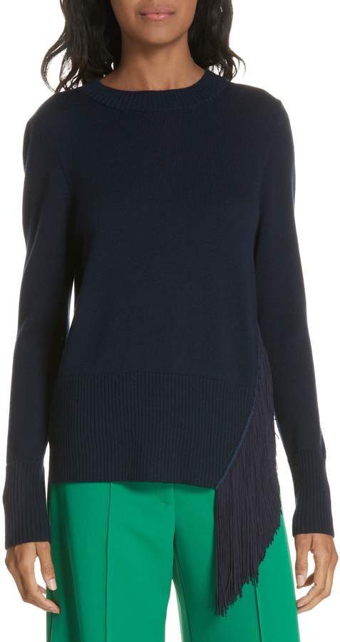 Milly Angled Fringe Wool Sweater
