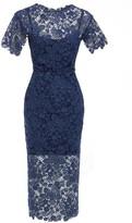 Sarvin Hannah Guipure Lace Short Sleeve Midi Dress