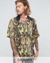 Reclaimed Vintage Snakeskin Revere Shirt In Reg Fit