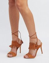 Charlotte Russe Fringed Lace-Up Dress Sandals