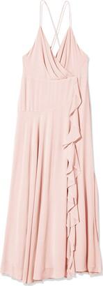 ASTR the Label Women's Sleeveless Surplice V-Neck Holland Ruffled Full Length Bridesmaid Dress