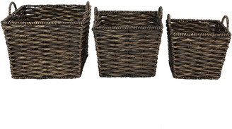 Uma Enterprises Uma Set Of 3 Large Square Water Hyacinth Wicker Storage Basket