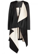 Roland Mouret Studham Black Draped Satin Coat
