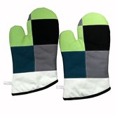 [Green Curry] Durable Heat Resistant Patchwork Oven Gloves/Canvas Mitts 2-Pack