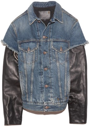 R 13 Sky Trucker Jean Jacket with Leather Sleeve in Kelly/Leather