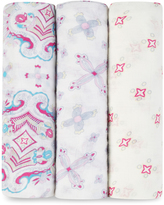 Aden Anais Pink Flower Child Swaddling Blanket - Set of Three