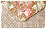 Sasha Beaded Aztec-Woven Envelope Clutch
