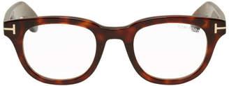 Tom Ford Tortoiseshell Blue Block Soft Rectangle Glasses