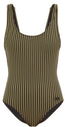 Solid & Striped The Anne-marie Striped Scoop-neck Swimsuit - Green Stripe