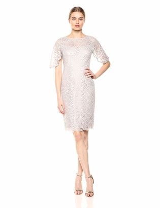 Adrianna Papell Women's Plus Size Metallic Lace Sheath Dress with Flutter Sleeves