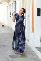Shabby Apple Evalisse Maxi Dress Navy and White