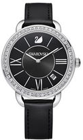 Swarovski Aila Day Pave and Stainless Steel Leather-Strap Watch