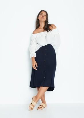 MANGO Violeta BY Fluid midi skirt khaki - S - Plus sizes