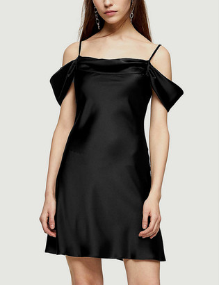 Topshop Cold-shoulder stretch-satin mini dress