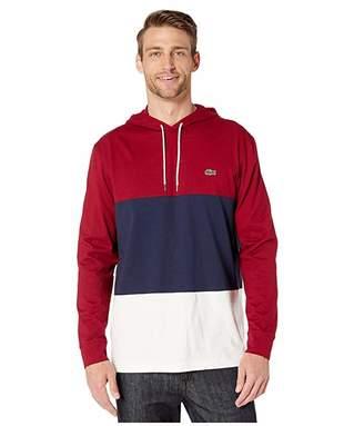 Lacoste Long Sleeve Color Block Jersey T-Shirt (Flour/Navy Blue/Bordeaux) Men's Clothing