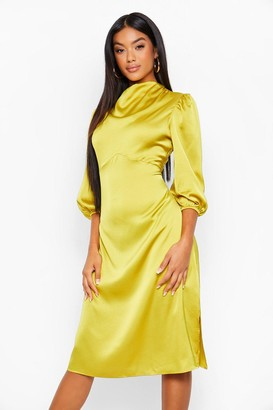 boohoo High Neck Satin Midi Dress