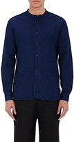 Margaret Howell MEN'S CHAMBRAY BANDED COLLAR SHIRT-BLUE SIZE M