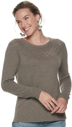 Women's SONOMA Goods for Life Pointelle Yoke Sweater