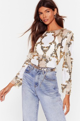 Nasty Gal Womens Play to Sequin Embellished Mesh Blouse - White - L/XL