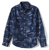Classic Men's Tailored Fit Camo Chambray Shirt-Bay Water