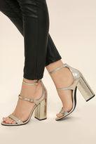 Steve Madden Parrson Gold Ankle Strap Heels