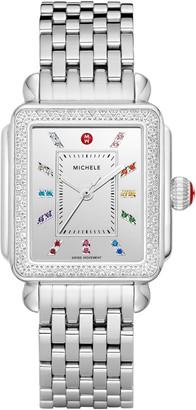 Michele Deco Carousel Diamond Watch Head & Bracelet, 33mm x 35mm