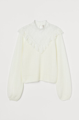 H&M Lace-detail Sweater - White