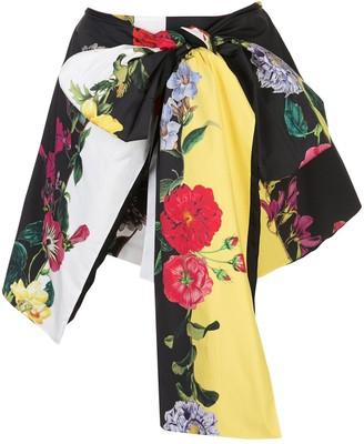 Oscar de la Renta Asymmetric Floral Print Shorts