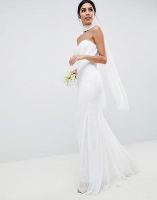 City Goddess Wedding Bandeau Seqin & Chiffon Fishtail Maxi Dress-White