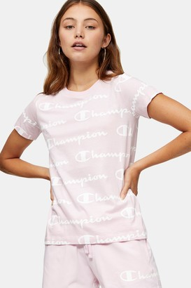 Champion Womens Pink Repeat Logo T-Shirt By Pink
