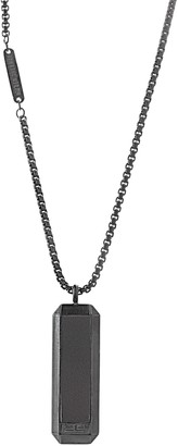 """Ben Sherman Men's 26"""" Black Faux Leather Dog Tag Necklace with Stainless Steel Black IP Box Chain"""