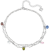 Multi-Color Rhinestone & Silvertone Charm Anklet