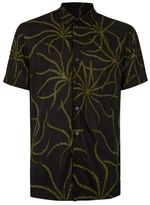 Topman Black and Khaki Print Short Sleeve Casual Shirt